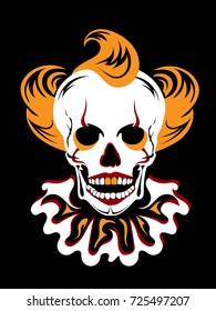 Illustration clown skull. Silhouette. Red black white orange.