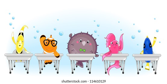 Illustration of a Clownfish, Pufferfish, Betta, Blue Tang, and a Yellow Butterfly fish in School