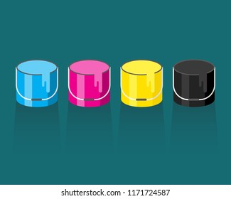 Illustration of cmyk colored paint buckets with 3d style design and shadow under.