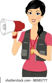 Illustration of a Coach Holding a Megaphone