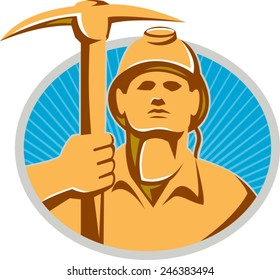 Illustration of a coal miner facing front holding a pick axe set inside oval with sunburst done in retro style.