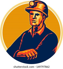 Illustration of a coal miner wearing hardhat arms folded facing front set inside circle done in retro style.