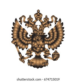 Illustration of the coat of arms with a two-headed eagle