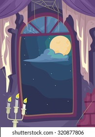 Illustration of a Cobweb Filled Haunted House with the Full Moon Visible from the Window