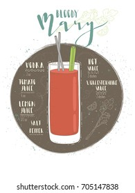 Illustration of cocktail Bloody Mary