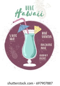 Illustration of cocktail Blue Hawaii