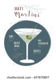 Illustration of cocktail Dry martini