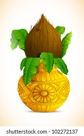 illustration of coconut in golden mangal kalash for hindu festival