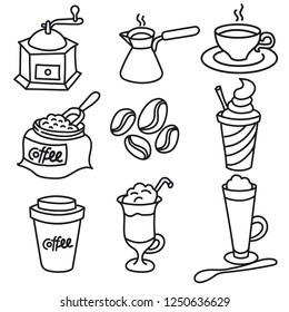 illustration of coffee drinks outline black and white icon set