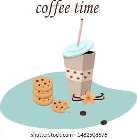 Illustration - coffee in a glass, chocolate chip cookies, vanilla flower, coffee beans
