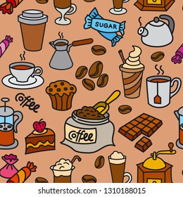illustration of coffee seamless pattern background
