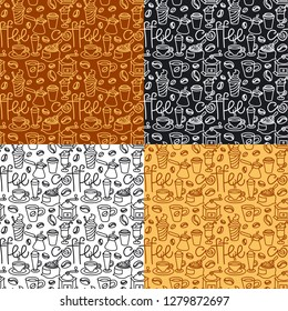 illustration of coffee seamless patterns background, includes four swatches patterns