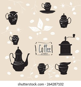 illustration with coffee set