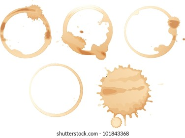 Illustration of coffee stains on white