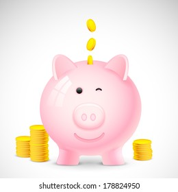 illustration of coin falling into piggy bank showing saving concept