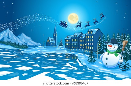 Illustration of cold cold Winter scene of a snowman with carrot nose, scarf and hat  and with Santa Klaus overhead on his sledge  pulled by four reindeer  across  a starlit sky