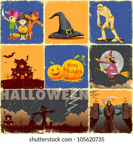 illustration of collage for different concept of Halloween