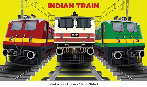 Illustration of collage of front engine view of Indian train running on track