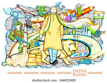 illustration of collage showing Progress and Development depicting India Rising