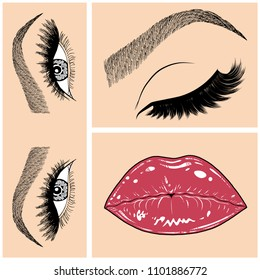 Illustration with collage of woman's eye, eyebrows, eyelashes, sexy lips and luxury lipstick . Makeup Look. Tattoo design. Logo for brow bar, lash or beauty salon.