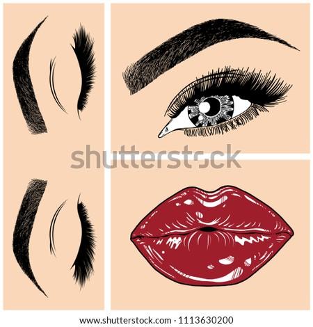 Illustration Collage Womans Eye Eyebrows Eyelashes Stock Vector ...