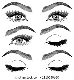 Illustration with collage of woman's eye wink, eyebrows and eyelashes. Makeup Look. Tattoo design. Logo for brow bar or lash salon.