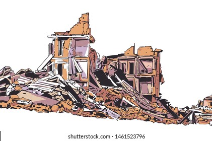 Illustration of collapsed building due to earthquake, natural disaster, explosion, fire