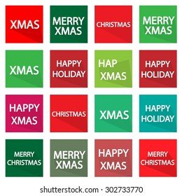 Illustration Collection of 16 Xmas Stickers and Labels for Christmas Holiday Celebration.