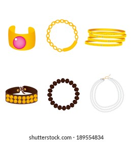 Illustration collection of beautiful gold, pearl and leather bracelet accessories