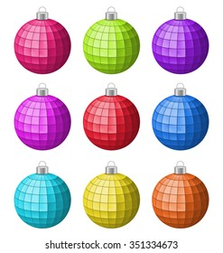 Illustration Collection Colorful Christmas Glass Balls Isolated on White background - Vector