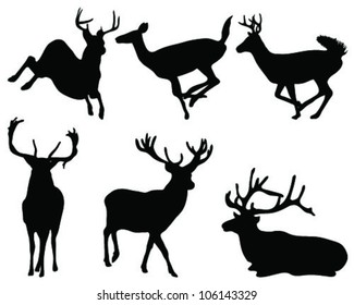 Illustration of collection of deers silhouette-vector
