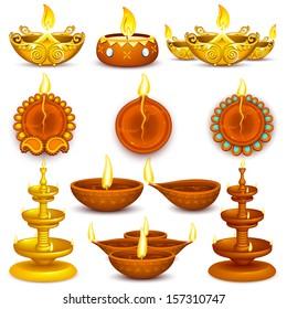 illustration of collection of Diwali decorated diya