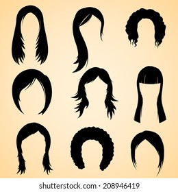 illustration of collection of hair style for female