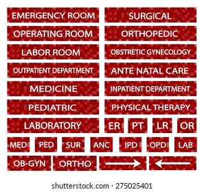 Illustration Collection of Hospital Signs and Medical Abbreviations of Different Departments at A Hospital in Red Labels.