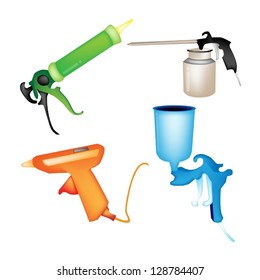 Illustration Collection of Hot Glue Gun, Caulking Gun, Airbrush Painting and Oil Can Isolated on White Background