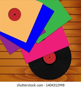 Illustration of a collection of phonograph records on a wooden background