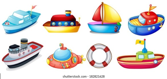 Illustration Of The Collection Toy Boats On A White Background