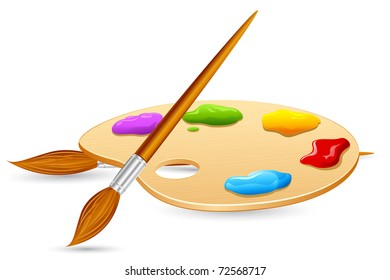illustration of Color Brush and Color Pallet on isolated background