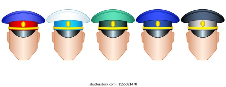 Illustration of the color service cap set