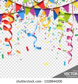 illustration of colored confetti, garlands and streamers background for party or carnival usage with transparency in vector file