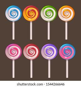 Illustration of colored lollipops on stick set on dark background