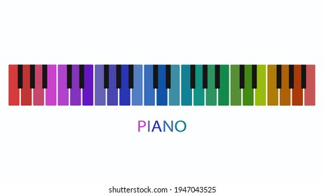 illustration of a colored piano key on a white background