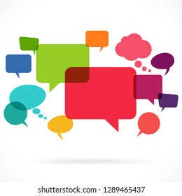 illustration of colored speech and thought bubbles with space for text