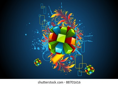 illustration of colorful abstract shape with floral swirl