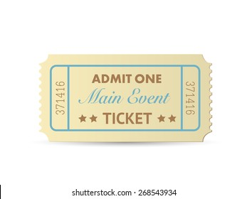 Illustration of a colorful admit one ticket isolated on a white background.