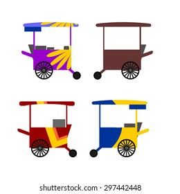 illustration of colorful Asian street food carts.
