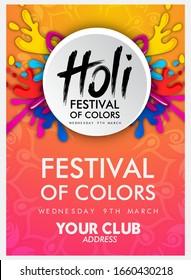 Illustration of colorful background for Festival of Colors Happy holi vector elements for card design ,celebration design