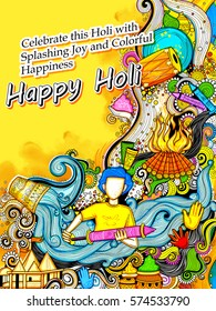 illustration of colorful Background for Festival of Colors celebration greetings withmessage in Hindi Holi Milan Samaroh meaning Holi After Party