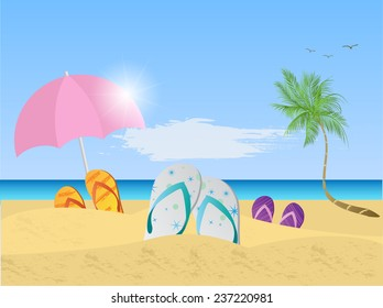 Illustration of a colorful beach scene with umbrella, sandals, palm trees, sand and ocean.