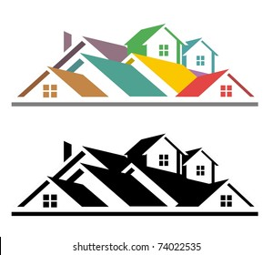 An illustration of colorful and black and white real estate icon